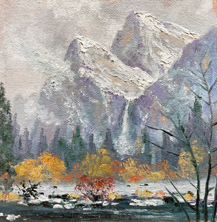 Misty Bridalveil, 6x6, oil on panel. SOLD