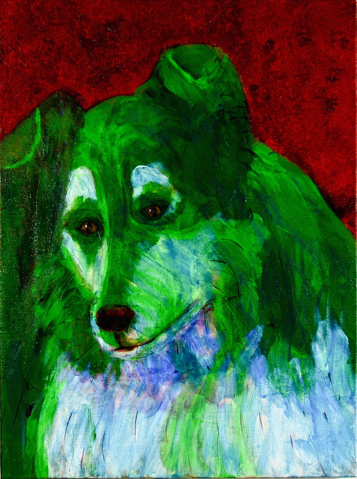 Green Collie - Original for Sale - Prints Available