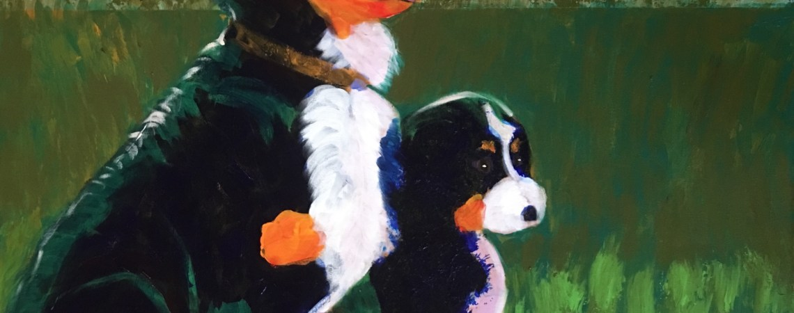 Bernese Mtn Dog with Puppy  - Original For Sale - Prints Available