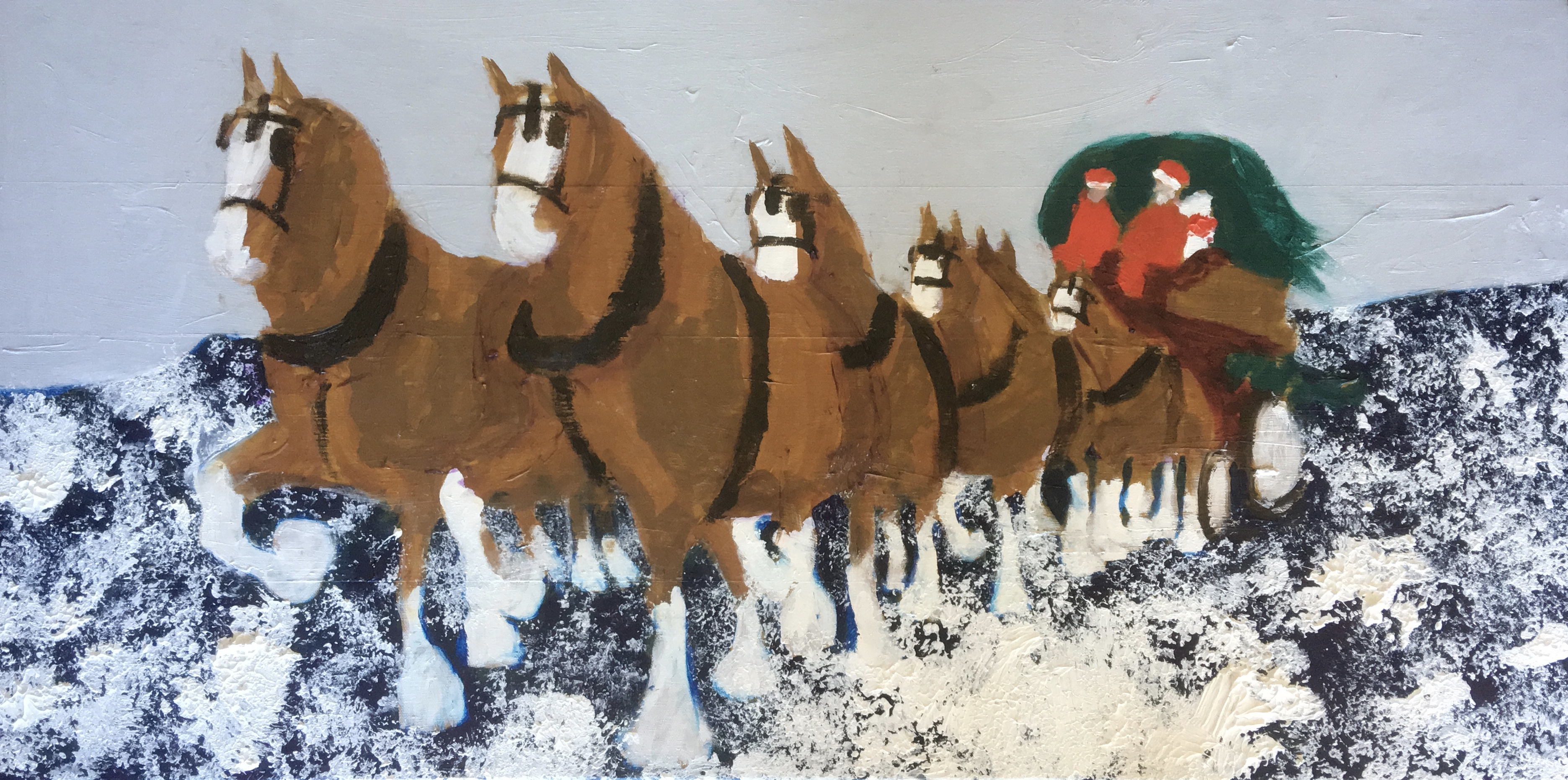 Clydsdales bringing home the Christmas Tree- Original for Sale - Prints Available