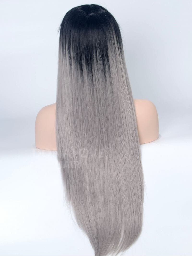 Black To Gray Straight Synthetic Lace Front Wig SNY079