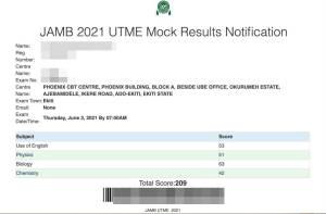 jamb mock exam result slip