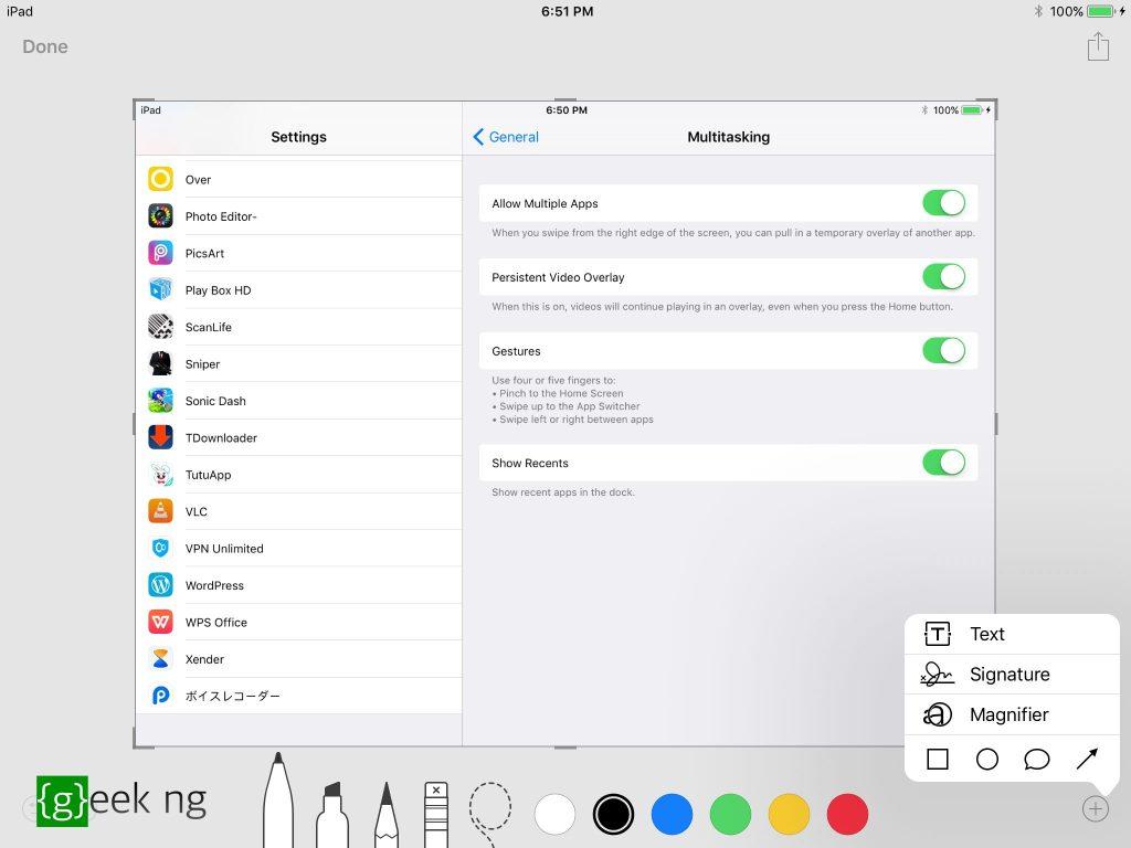 iOS 11 screenshot markup