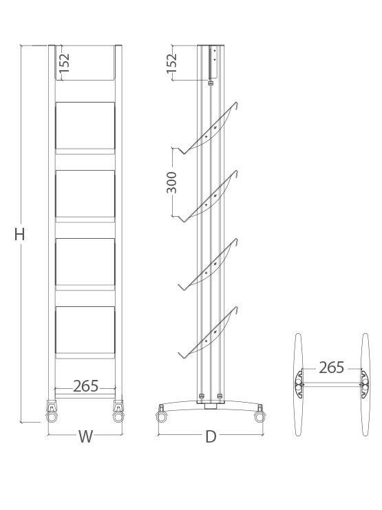 PortaFolletos con ruedas modelo Verona medidas 1