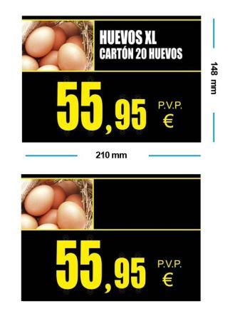 portaprecios huevos estándar