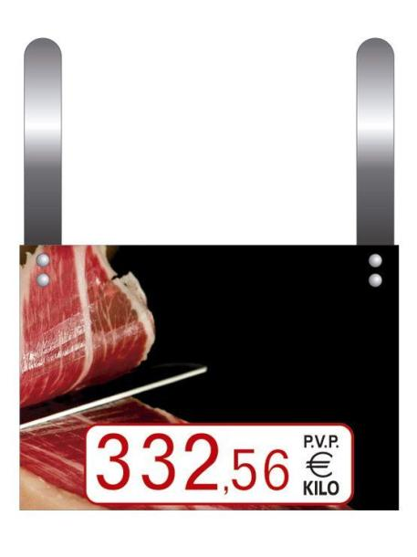 cartel precio jamones con ganchos tres cifras para rotulador