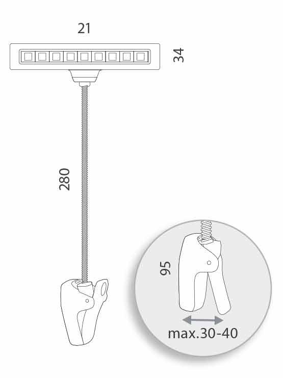 lámpara pinza led medidas
