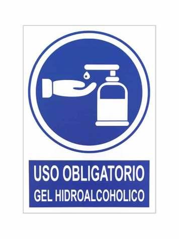 Uso obligatorio gel hidroalcohólico es una señal de seguridad