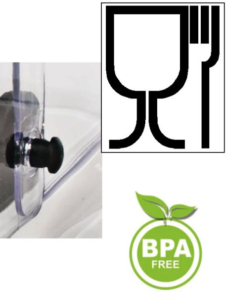 Expositor alimentario doble libre de BPA