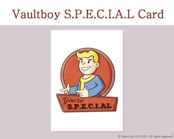 You're special, fallout 4 romantic card, valentines day card, gaming card, nerdy, geeky, retrogaming, pip boy, vault boy