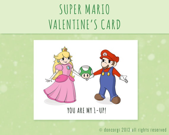 Super Mario Valentine's Day Card, Romantic Card, gaming card, geeky, for him, for her, gift, valentines