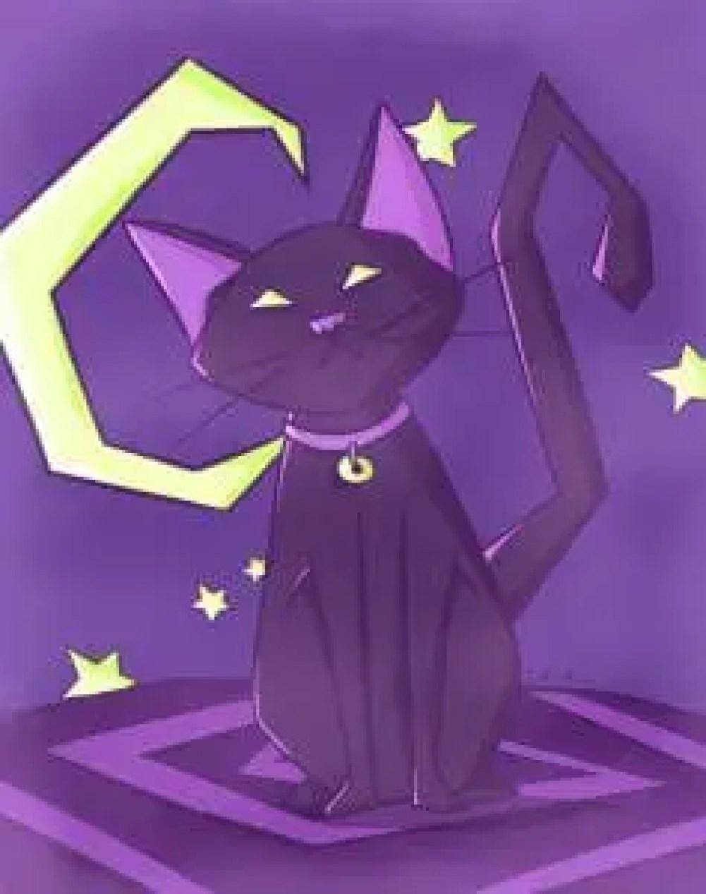black cat, illustration, artwork, national cat day