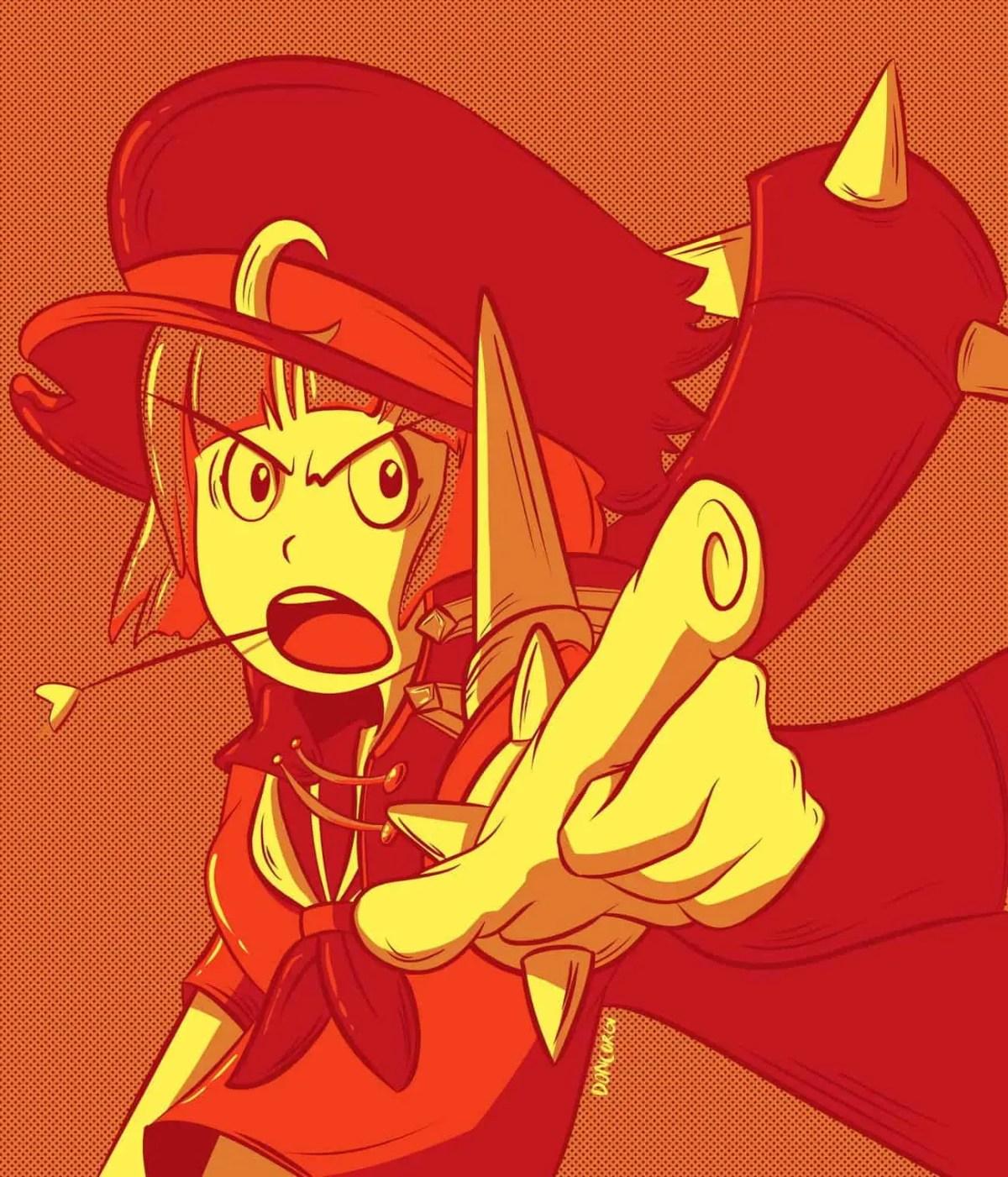 mako mankanshoku, kill la kill, anime, fan art, fanart, digital painting, illustration, female character, badass
