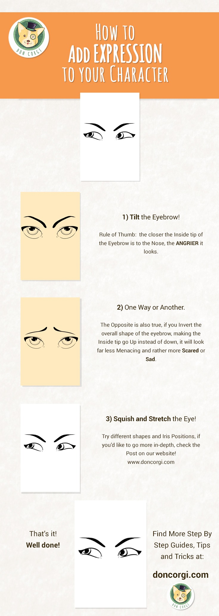 Draw Facial Expressions - Eye Expressions by Don Corgi