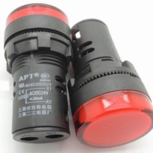 Red 16MM Highlighting the LEDindicator light AD16opening 16 mm - 24 VOLT DC
