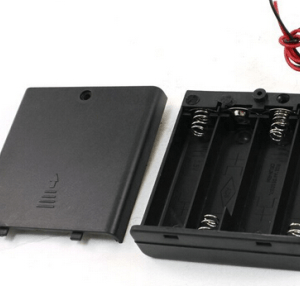 4AA 4 x 1.5V AA contenitore batterie Holder Leads Black With ON/OFF Pulsante