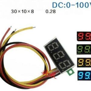 Red 0.28 inch ultra-piccolo Digitale DC Voltmetro three-wire Digitale Regolabile DC 0-100V