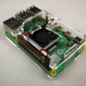 Ventola singola + custodia in acrilico trasparente a 2 strati per Raspberry PI 4