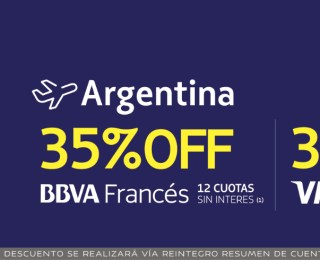 Descuentos del 30% (Visa) y 35% (BBVA) para volar por Argentina