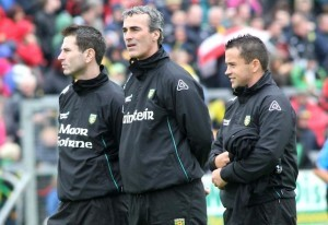 Former Donegal manager Jim McGuinness has chosen to remain coy on the possibility of former assistant manager Rory Gallagher replacing him as the Donegal manager.