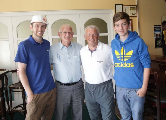 Soccer legend Johnny Giles with Liam Blake and Liam's grandsons.