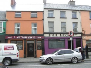 Hutton's Bar (left) which was broken into overnight.