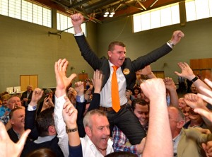 John O'Donnell celebrates after being elected in the Letterkenny electoral area. Pic-Clive Wasson
