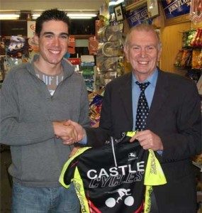 Paddy with one of his biggest fans, cyclist Phillip Deignan.