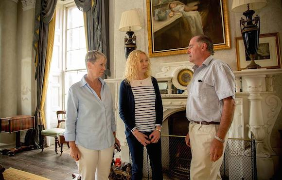 Constance Cassidy, far left, and Eddie Walsh, right, chat at Lissadell yesterday