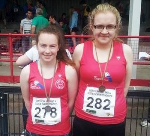 Chloe Masterson and Clara Herron Hammer medal winners at Ulster/ANI c/ships in Antrim