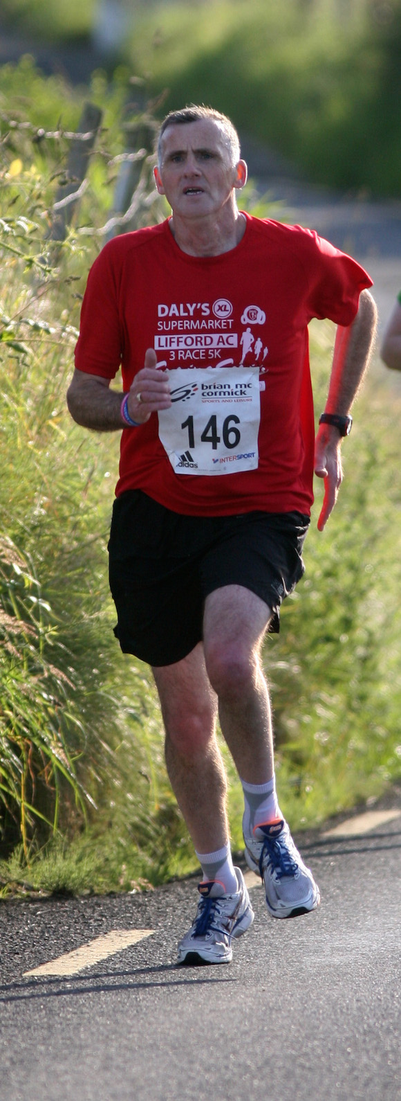 Shaun O Donnell on his way to the finish at the 5k in Carrigart. Photo Brian McDaid