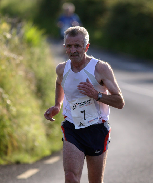 Manus Peoples finishing in fine form in the Carrigart 5k. Photo Brian McDaid