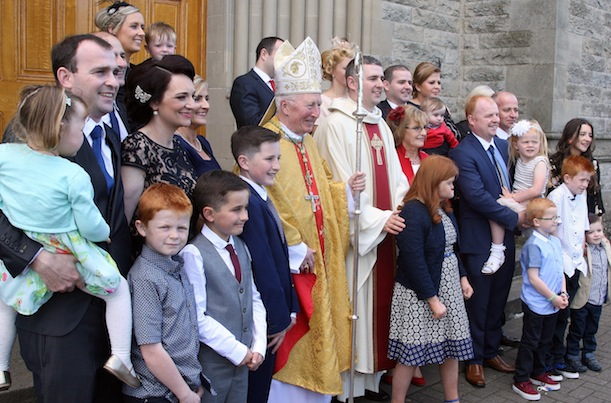 Bishop Philip Boyce with Fr Gorman and his family following his ordination. All pics by Brian McDaid from the Cristeph Studio.