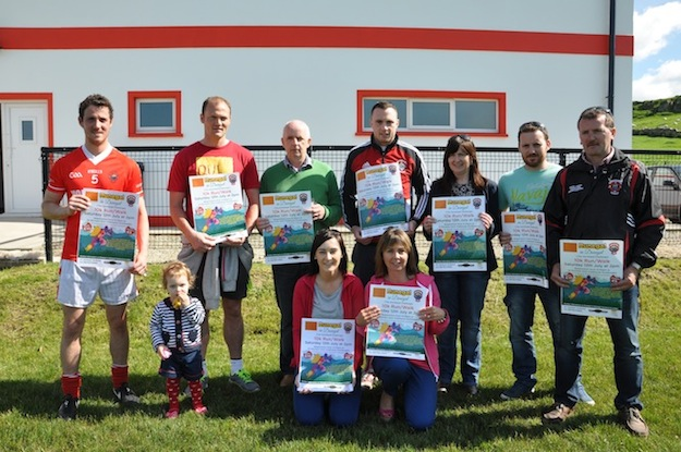 At the launch of the Runegal 10k on today Sunday the 15th are county players Colm Mc Fadden and Martin Mc Elhinney and senior and reserve team captains Antoin Mc Fadden and Danny Langan along with Committee members Liam Mc Elhinney Nicola Ferry, Annmarie Kelly, Sean Langan, Patricia Kelly and Maisie McFadden. Missing from photo is Suzi Roarty and Andrew Coll.