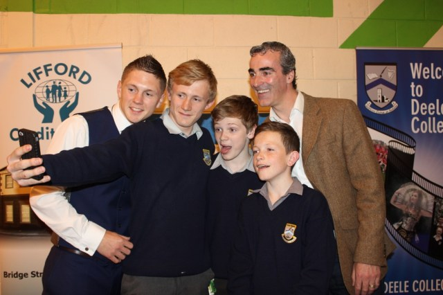 Deele College students taking a selfie with  guest speakers Jason Quigley and Jim Mc Guinness at the schools 2014 Prizegiving Event which was held on Thursday.