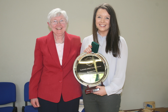 Jane Gormley received the Ad Astra scholarship from UCD for her outstanding Leaving Certificate results, Senior Academic Student of the Year achieving 7 A1's at Higher Level in her Leaving Certificate and                Spirit of Loreto Award 2013 and she is pictured receiving Mathematics Student of the Year from Ms. Ann Carroll.