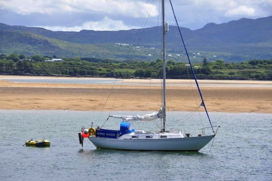 Wood Magic, the yacht at the centre of the mystery moored at Sheephaven Bay, Ard on Sunday. Photo by Moses Alcorn.