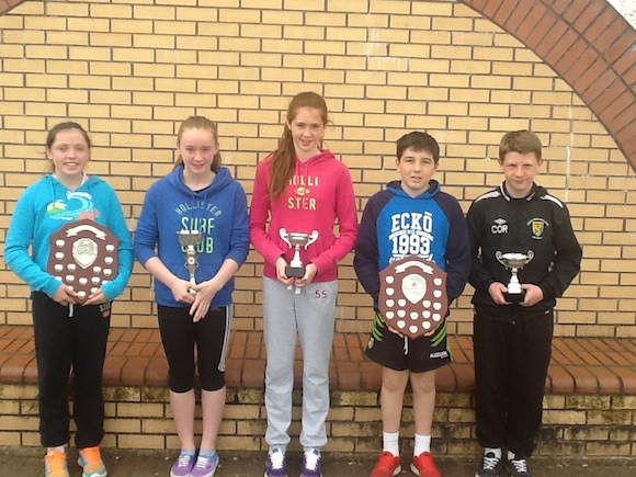 Prizes won by Illistrin in 2013/2014.Boys and Girls Cumman na mBunscoil for large schools football,Loreto Cup,Fran Fields football cups,boys and girls.