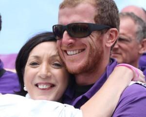 Buncrana man Sean McCarter, skipper of the Derry Clipper, is welcomed home by city Mayor Brenda Stevenson,