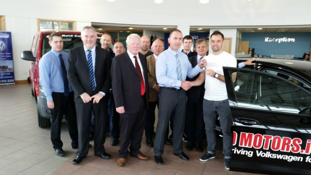 Four-time All-star Karl Lacey receiving the keys to his brand new Volkswagen Bluemotion