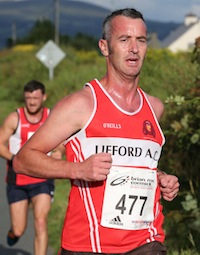Gary Gallagher of Lifford AC at the half-way point in the St. Johnston 5K Road race. Pic.: Gary Foy