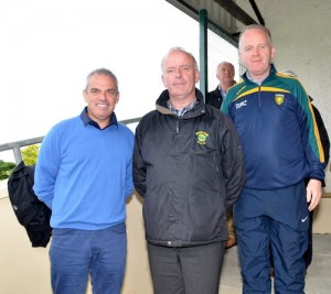 rish Golfing legend Paul Mc Ginley, Glenswilly Chairman Mick Murphy, and Club Pro Paul Gallagher at the Senior League clash between St Michael's and Glenswilly                                 Photo: Geraldine Diver