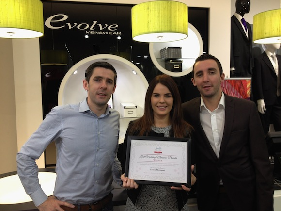 Wedding Hire Manager of Evolve Menswear Louise McPhilemy with JP and Mark McCloskey.
