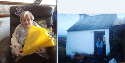 Julia, left, celebrates her birthday this week with flowers and right, sh stands at her home in Rathmullan which she lived in for 104 years.