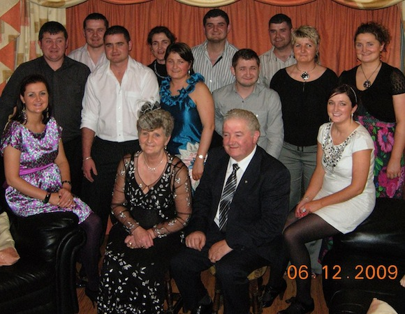 The twelve Boyle brothers and sister along with mum Ethna and dad Seamus.