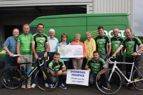 Members of the An Post cycle team with members of the Donegal Hospice.