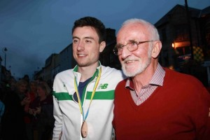 Two legends! Mark is welcomed home by Olympian Danny McDaid. Pic by Brian McDaid of Cristeph Studio.