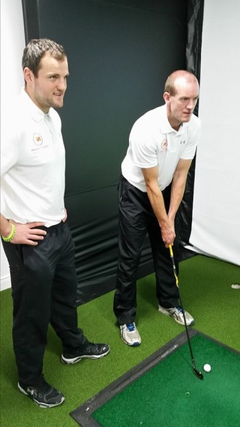 Michael and Neil testing out the new state of the art foresight sports golf simulator in-store.