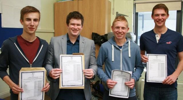 Crana College boys Jack Timlin, Craig Liam Brady, Christopher Duffy and Darragh McDermott happy with their Leaving Cert results.