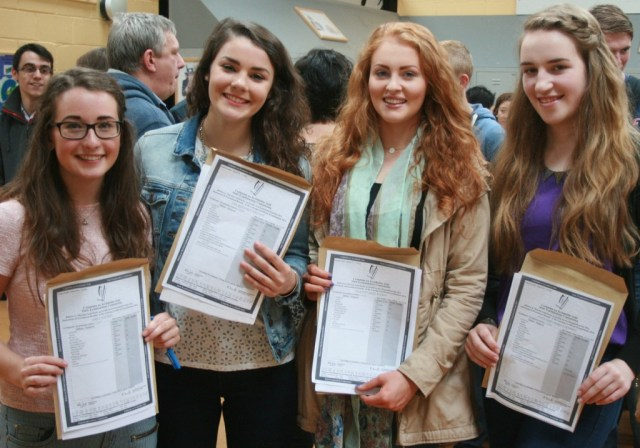Four happy girls. Crana College students Emily Bird, Lisa Ferguson, Courtney Barron and Eileen Doherty pictured together with their excellent Leaving Cert results.